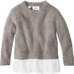 Sweter dzianinowy z falbaną bonprix jasnoszary melanż - biały. Czarne swetry dziewczęce marki bonprix, w paski, z dresówki. Za 27,99 zł.