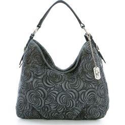 Torebki klasyczne damskie: Skórzana torebka w kolorze szarym - 35 x 30 x 15 cm