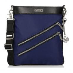 Torebka w kolorze granatowym - (S)25 x (W)28 x (G)8 cm. Niebieskie torebki klasyczne damskie Kazar, w paski, z materiału. W wyprzedaży za 219,95 zł.