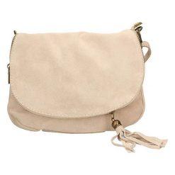 Torebki klasyczne damskie: Skórzana torebka w kolorze beżowym – 30 x 20 x 3 cm
