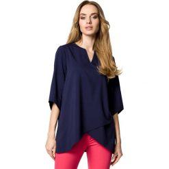 Bluzki, topy, tuniki: Zwiewna bluzka z warstwami nachodzącymi na siebie - granatowa