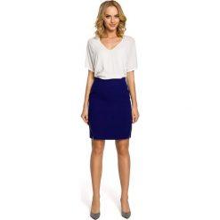 NICOLE Ołówkowa, mini spódnica z dwoma zamkami - chabrowa. Brązowe minispódniczki marki Moe, l, z bawełny. Za 109,99 zł.