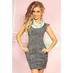 Sierra Golf - sukienka z dużymi kieszeniami i krótkim rękawkiem - Pieprz i sól. Różowe sukienki mini marki numoco, l, z golfem, z krótkim rękawem. Za 119,99 zł.