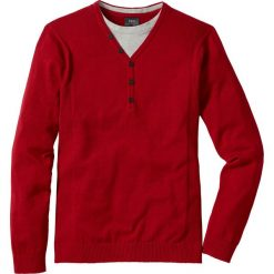 Sweter 2 w 1 Regular Fit bonprix ciemnoczerwony. Czerwone swetry klasyczne męskie bonprix, l. Za 49,99 zł.