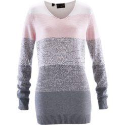 Swetry klasyczne damskie: Długi sweter z kaszmirem bonprix pastelowy jasnoróżowy – szary melanż