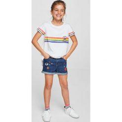 Mango Kids - Szorty dziecięce Bro 110-164 cm. Różowe szorty jeansowe damskie marki Mayoral, z okrągłym kołnierzem. Za 89,90 zł.