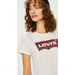 Levi's - Top. Brązowe topy damskie Levi's®, l, z nadrukiem, z bawełny, z okrągłym kołnierzem. Za 99,90 zł.