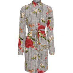 Sukienka w kratę bonprix czarno-biały w kratę i kwiaty. Czarne sukienki marki bonprix, w kwiaty, szmizjerki. Za 79,99 zł.