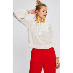 Answear - Bluzka Stripes Vibes. Szare bluzki nietoperze marki ANSWEAR, l, z tkaniny, casualowe, z okrągłym kołnierzem. W wyprzedaży za 39,90 zł.