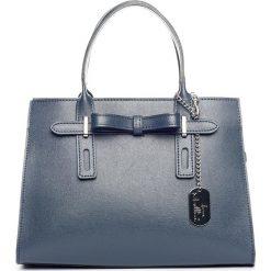 Torebki klasyczne damskie: Skórzana torebka w kolorze granatowym – 30 x 22 x 13 cm