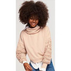 Bluza z ozdobnymi rękawami - Beżowy. Brązowe bluzy damskie marki Calvin Klein Jeans, xl, z bawełny. Za 99,99 zł.
