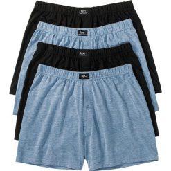 Luźniejsze bokserki (4 pary) bonprix niebieski dżins melanż + czarny. Niebieskie bokserki męskie bonprix, melanż, z dzianiny. Za 55,96 zł.