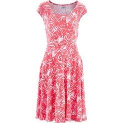Sukienka bonprix biało-jasnoróżowy z nadrukiem. Białe sukienki hiszpanki bonprix, z nadrukiem, z materiału. Za 59,99 zł.