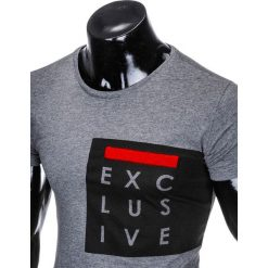 T-SHIRT MĘSKI Z NADRUKIEM S882 - GRAFITOWY. Szare t-shirty męskie z nadrukiem Ombre Clothing, m. Za 29,00 zł.