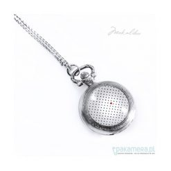 Naszyjniki damskie: Naszyjnik – Zegarek – w kropeczki z serduszkiem.