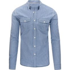 Koszule męskie na spinki: Niebieska koszula męska w kratkę (dx1157)