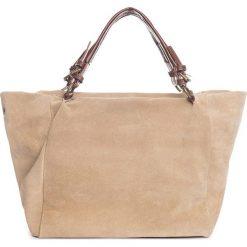 Torebki i plecaki damskie: Skórzany shopper bag w kolorze szarobrązowym – 42 x 40 x 20 cm