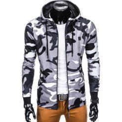 BLUZA MĘSKA ROZPINANA Z KAPTUREM B741 - SZARA/MORO. Szare bluzy męskie rozpinane marki Ombre Clothing, m, moro, z bawełny, z kapturem. Za 69,00 zł.
