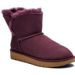 Buty UGG - W Classic Cuff Mini 1016417 W/Port. Szare buty zimowe damskie marki Ugg, z materiału, z okrągłym noskiem. Za 799,00 zł.