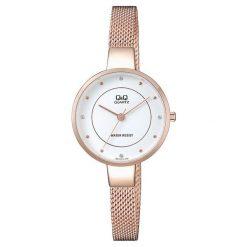 Zegarki damskie: Zegarek Q&Q Zegarek damski  QA17-011 Fasion Mesh Cyrkonie Złoto-biały