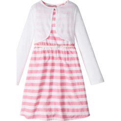 Sukienki dziewczęce: Sukienka + pasek + bolerko (3 części) bonprix jasnoróżowo-biały w paski