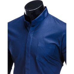 KOSZULA MĘSKA ELEGANCKA Z DŁUGIM RĘKAWEM K307 - GRANATOWA. Brązowe koszule męskie na spinki marki Ombre Clothing, m, z aplikacjami, z kontrastowym kołnierzykiem, z długim rękawem. Za 59,00 zł.