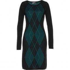 Sukienka dzianinowa bonprix czarno-głęboki zielony. Czarne sukienki balowe marki TXM, z klasycznym kołnierzykiem. Za 109,99 zł.