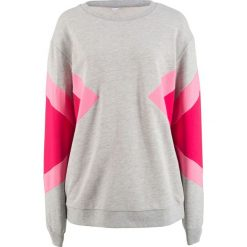 Bluza dresowa, z kolekcji Maite Kelly bonprix jasnoszary melanż - czerwień granatu - jaskrawy jasnoróżowy. Szare bluzy damskie bonprix, melanż, z dresówki. Za 109,99 zł.