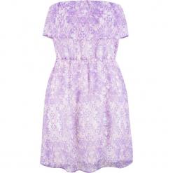 Sukienka plażowa z dekoltem bandeau bonprix lila. Fioletowe sukienki z falbanami bonprix, na plażę. Za 59,99 zł.