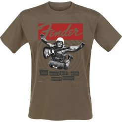 Fender You Won`t Part With Yours Either T-Shirt brązowy. Brązowe t-shirty męskie z nadrukiem Fender, l, z okrągłym kołnierzem. Za 74,90 zł.