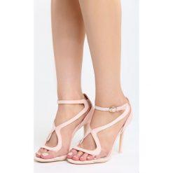 Różowe Sandały City Ligts. Czerwone sandały damskie Born2be, z materiału, na wysokim obcasie, na obcasie. Za 89,99 zł.