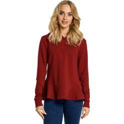 Bluzy damskie: Bordowa Bluza z Falbanką i Kapturem