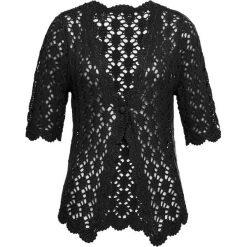 Sweter rozpinany szydełkowy bonprix czarny. Czarne kardigany damskie bonprix, na lato. Za 99,99 zł.