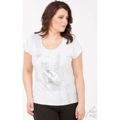 T-shirty damskie: T-shirt z połyskującym nadrukiem i napisami Plus