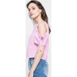 Missguided - Bluzka. Szare bluzki z odkrytymi ramionami marki Missguided, w kratkę, z bawełny, casualowe, z okrągłym kołnierzem. W wyprzedaży za 39,90 zł.