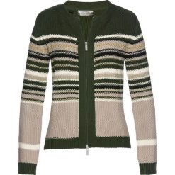 Swetry damskie: Sweter rozpinany bonprix nocny oliwkowy – kolorowy