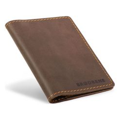 Portfele męskie: Skórzany portfel SLIM wallet BRODRENE ciemny brąz