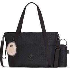 """Torba """"Little Heart"""" w kolorze czarnym do przewijania - 50 x 31 x 20 cm. Czarne torebki klasyczne damskie Kipling, w paski, z materiału. W wyprzedaży za 258,95 zł."""
