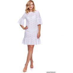 Sukienka Damska w stylu BOHO LM18. Białe sukienki boho Pakamera, z tkaniny, z dekoltem w łódkę, mini. Za 92,00 zł.