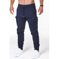 SPODNIE MĘSKIE JOGGERY P706 - GRANATOWE. Czarne joggery męskie marki Ombre Clothing, m, z bawełny, z kapturem. Za 99,00 zł.