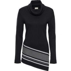 Sweter bonprix czarny. Niebieskie golfy damskie marki bonprix, z nadrukiem. Za 99,99 zł.