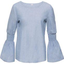 Bluzka bonprix biało-niebieski dżins w paski. Białe bluzki z odkrytymi ramionami marki bonprix, w paski, z okrągłym kołnierzem. Za 74,99 zł.