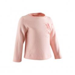 Bluza Gym & Pilates dla maluchów. Czerwone bluzy niemowlęce marki DOMYOS, z nadrukiem, z bawełny. Za 19,99 zł.