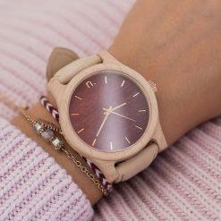 Zegarek Neat Zegarek damski klon drewniany bordowo-złoty 38mm. Czerwone zegarki damskie Neat, złote. Za 324,00 zł.