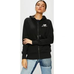 New Balance - Bluza. Czarne bluzy z kapturem damskie marki New Balance, l, z bawełny. W wyprzedaży za 239,90 zł.
