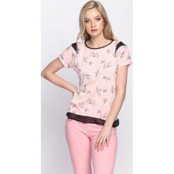 Bluzki damskie: Różowy T-shirt Suit & Tie