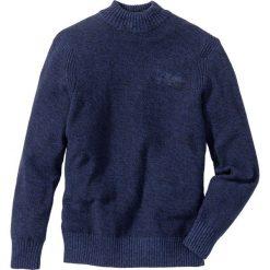 Sweter ze stójką Regular Fit bonprix kobaltowy melanż. Niebieskie golfy męskie marki bonprix, l, z haftami. Za 74,99 zł.
