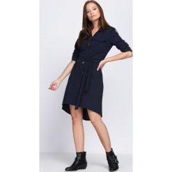 Granatowa Sukienka Do You Wanna Rock. Niebieskie sukienki marki Born2be, m, rockowe, z koszulowym kołnierzykiem, koszulowe. Za 79,99 zł.