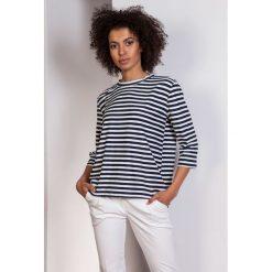 Luźna bluzka-frak, BLU140 paski. Szare bluzki nietoperze Pakamera, w paski, biznesowe. Za 119,00 zł.