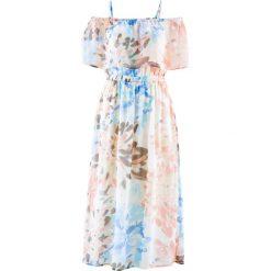 Sukienki: Sukienka szyfonowa z nadrukiem bonprix brzoskwiniowo-łososiowy z nadrukiem